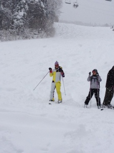 James's first time on skis